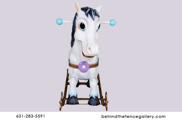 Cartoon White Rocking Horse Statue