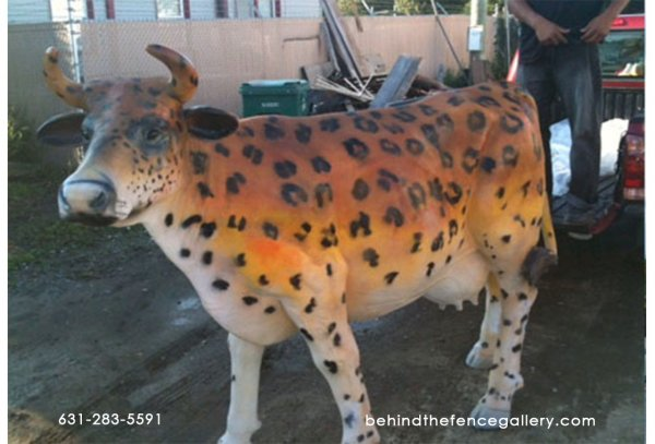Cheetah Print Cow Statue