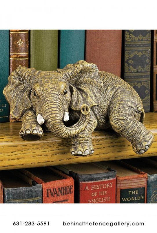 Ernie the Bookshelf Elephant Statue