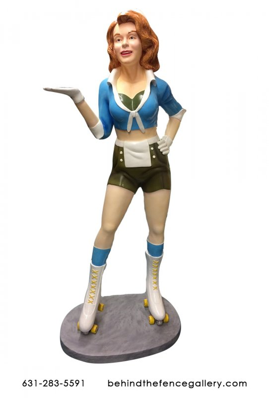 Roller Skater Girl Waitress Statue