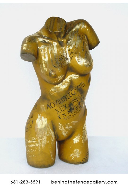 Female Torso Statue in Gold Finish