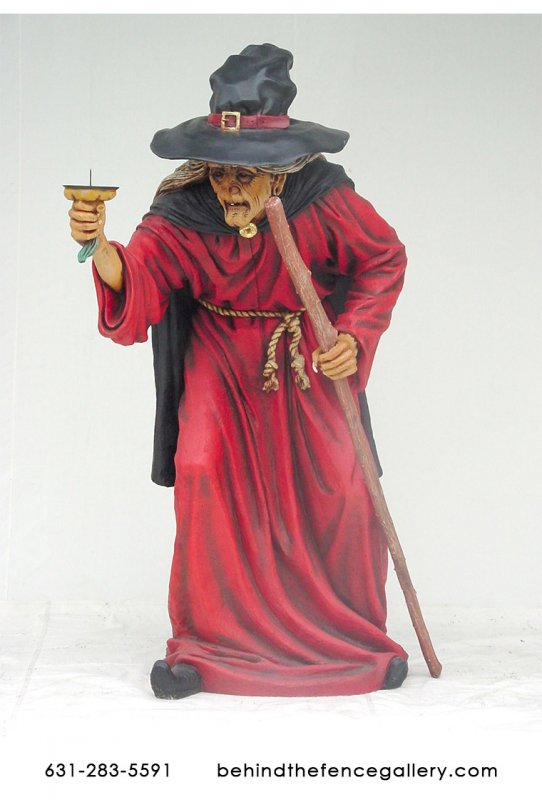 Female Witch Holding Candle Statue