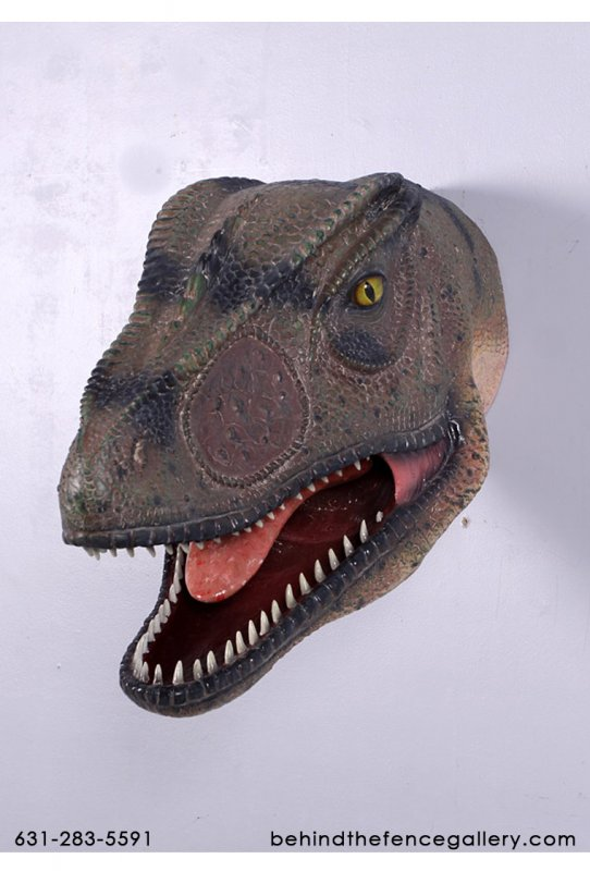 Allosaurus Head Statue with Mouth Open