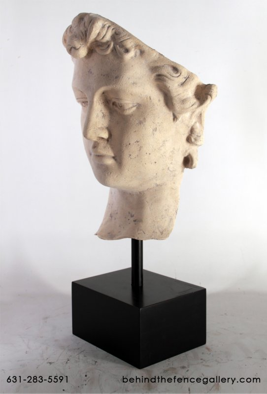 David Head on Base Statue in Roman Stone Finish