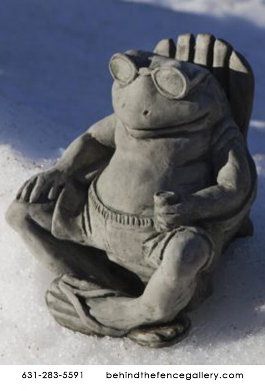 Relaxing Frog Buddy on the Beach Cast Stone Statue