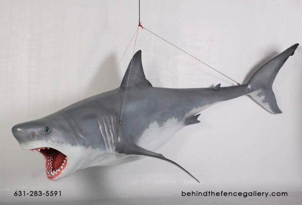Great White Shark Statue - Hanging 11 Ft.