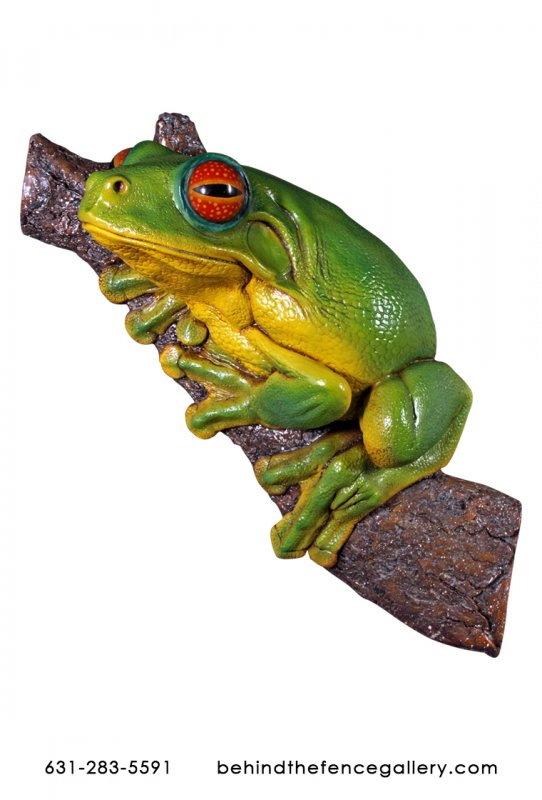 Green Tree Frog Wall Mounted Statue