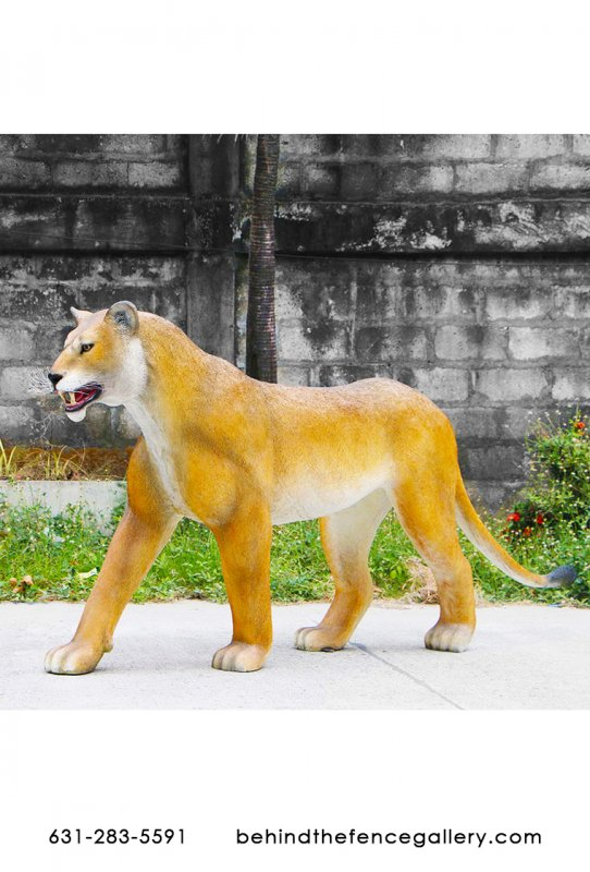 Life Size African Lioness Walking Statue Decor