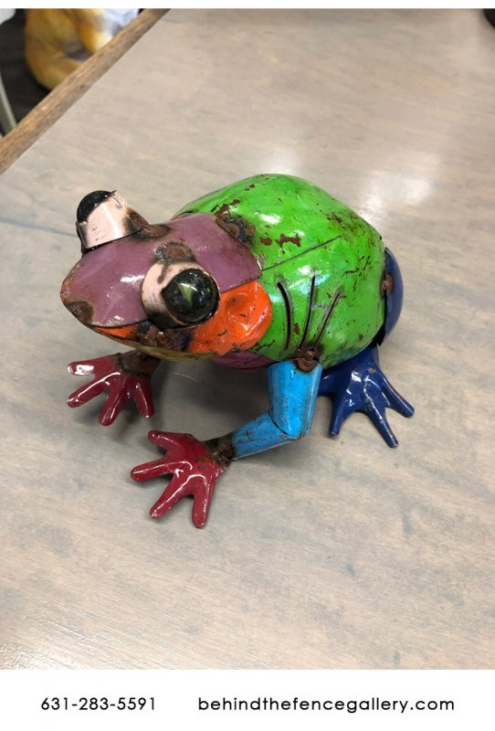 Recycled Metal Frog Statue - Mini