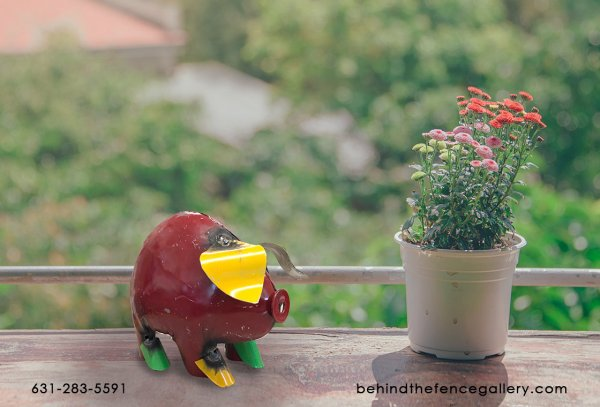 Recycled Metal Pig Statue - Mini