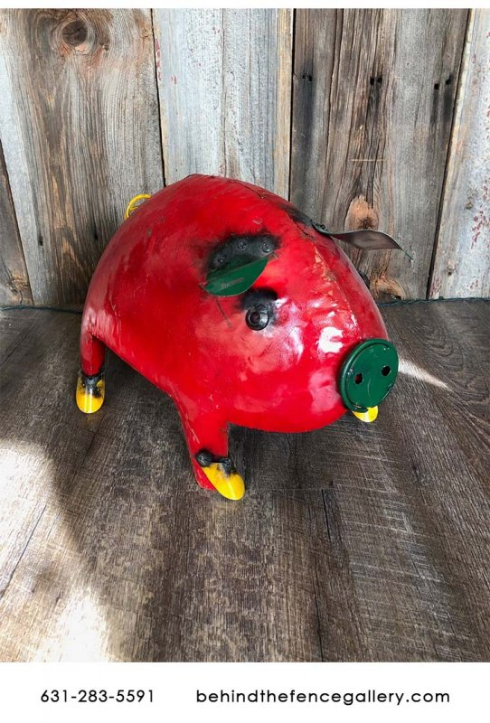 Recycled Metal Pig Statue - XL