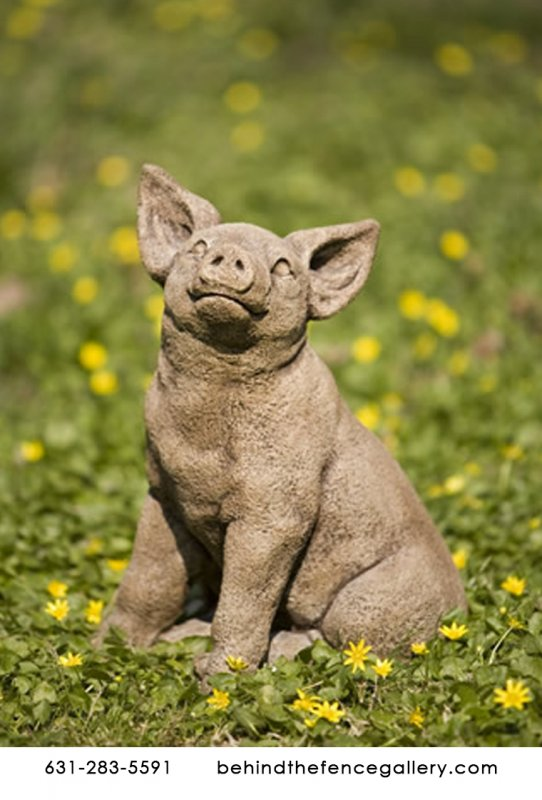 Perky Happy Young Pig Cast Stone Statue