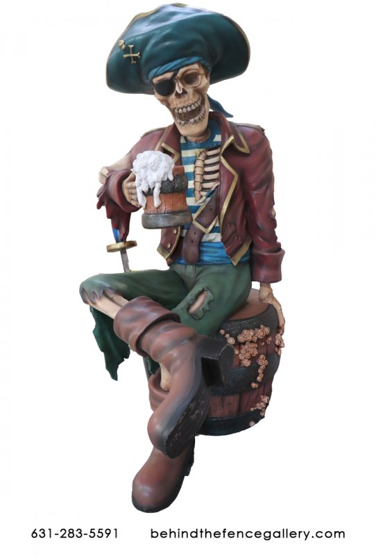 Eternal Pirate Skeleton With Beer Undead Life Size Statue