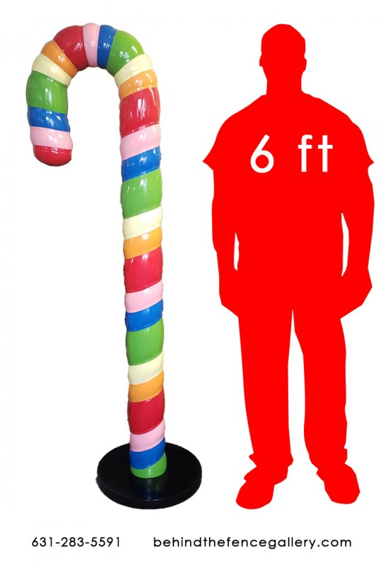 6 FT. Tall Rainbow Candy Cane with Base
