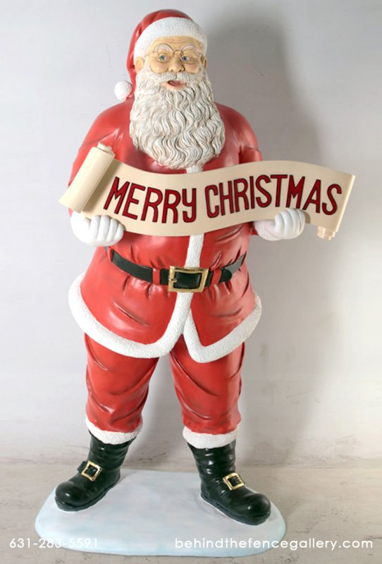 Santa Statue with Christmas Banner 5 ft.