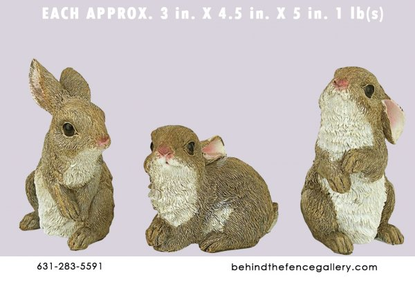 Small Brown Rabbit Statues (Sold Individually)