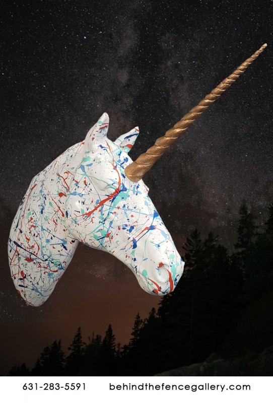 Splatter Art Unicorn Head Statue
