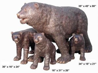 Bronze Bear Family of 4 Statues