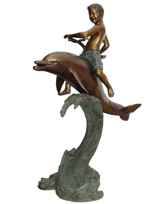 Bronze Boy on Dolphin