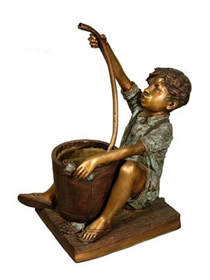 Bronze Boy With Tube Fountain