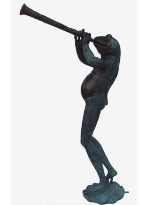 Bronze Frog Playing Flute