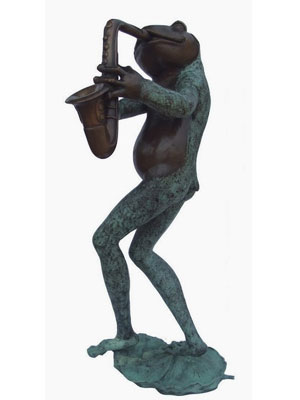 Bronze Frog Playing Saxophone