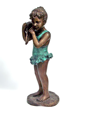 Bronze Girl holding a Sea Shell Fountain