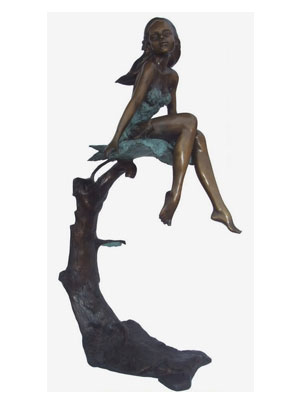 Bronze Girl on Maple Leaf