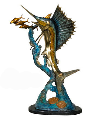 Bronze Atlantic Sailfish Statue