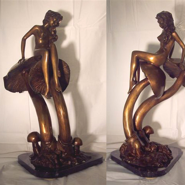 Bronze Girl on Mushroom