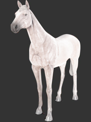 Standing Horse Statue in White Finish