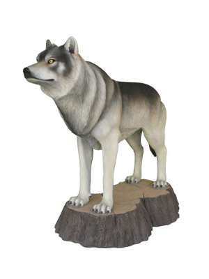 Wolf on Tree Stump Statue